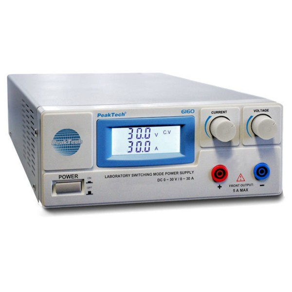 PeakTech 6160 - Laboratory Switching Power Supply, DC 1-30V 0-30A, Digital  Meters