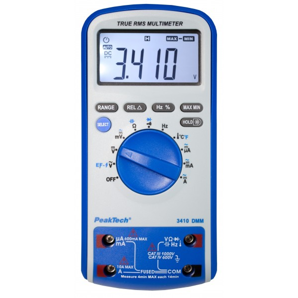 PeakTech 3410 - Digital Multimeter 3 5/6 digits (5999) 20mm, Frequency  Meter, Thermometer K