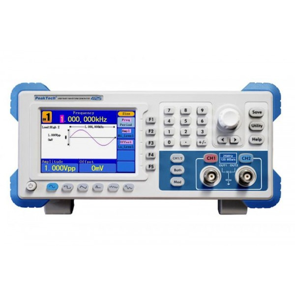 PeakTech 4125 - DDS Arbitrary Waveform Generator, 1 µHz - 25 MHz, 2  Channels, 14 bits Vertical